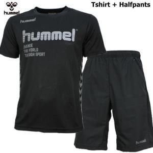 ヒュンメル Tシャツ 上下 メンズ トレーニングウェア サッカー 半袖 + ハーフ HAP4129 HAP2065 2カラー 吸汗速乾 上下セット|sportsjima|02