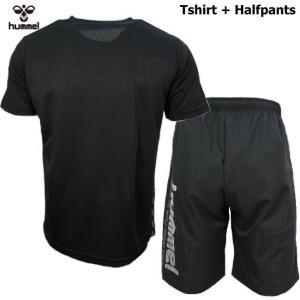 ヒュンメル Tシャツ 上下 メンズ トレーニングウェア サッカー 半袖 + ハーフ HAP4129 HAP2065 2カラー 吸汗速乾 上下セット|sportsjima|03