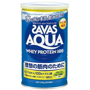 理想の筋肉のために ザバス アクア ホエイプロテイン 100 グレープフルーツ風味 1缶(378g) SAVAS-ザバス サプリメント/プロテイン|sportskym