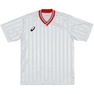 asics-アシックス ゲームシャツHS ホワイト×レッド サッカー、フットサル/ウェア|sportskym