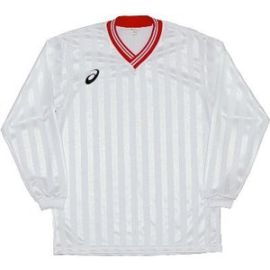 asics-アシックス ゲームシャツLS ホワイト×レッド サッカー、フットサル/ウェア|sportskym