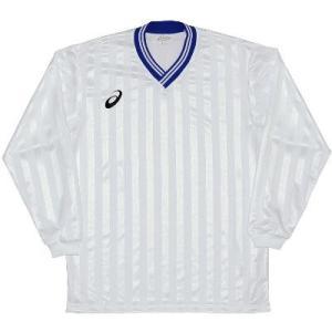 asics-アシックス ゲームシャツLS ホワイト×ブルー サッカー、フットサル/ウェア sportskym
