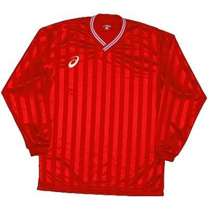 asics-アシックス ゲームシャツLS レッド サッカー、フットサル/ウェア|sportskym