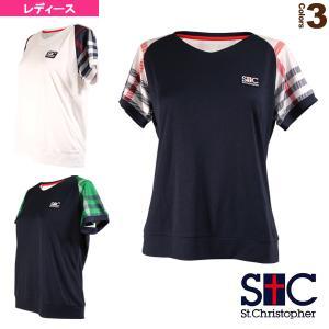 セントクリストファー テニス・バドミントンウェア(レディース)  チェック Vネック ゲームTシャツ/レディース(STC-AIW6175)|sportsplaza
