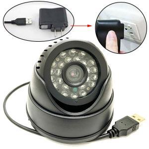 USB給電 ドーム型 防犯カメラ 録画装置 micro sd カード対応