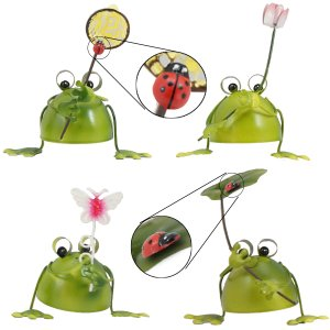 【5%還元】 カエル の 置物 (葉,網,花,蝶、てんとう虫付き) ブリキ で作られた4匹のカエルの...