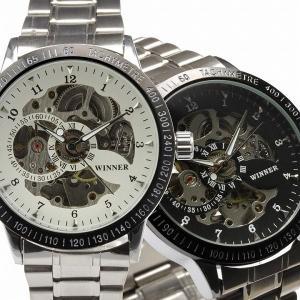 自動巻き腕時計 メンズ腕時計 スケルトン メタルベルト 男性用 WINNER ウィナー BCG31|springstate