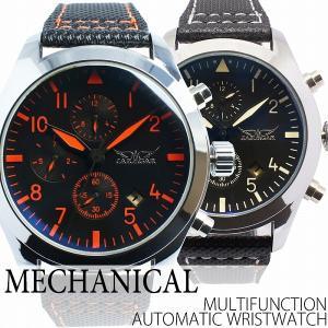 自動巻き腕時計 メンズ腕時計 マルチカレンダー トリプルカレンダー デイデイト 日付表示 レザーベルト 男性用 JARAGAR ジャラガー BCG61|springstate