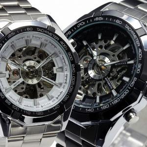 自動巻き腕時計 メンズ腕時計 フルスケルトン メタルベルト 男性用 WINNER ウィナー BCG89|springstate