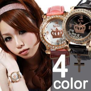 腕時計 レディース腕時計 ラインストーン クロスチャーム 十字架チャーム PUレザーベルト クォーツ 女性用 OSD28|springstate