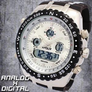 アナデジ デジアナ ダイバーズウォッチ風 メンズ腕時計 HPFS584-SVBK アナログ&デジタル 3気圧防水 ラバーベルト クロノグラフ カレンダー 送料無料|springstate