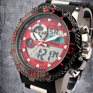アナデジ デジアナ ダイバーズウォッチ風 メンズ腕時計 HPFS622-RDSV アナログ&デジタル 3気圧防水 ラバーベルト クロノグラフ カレンダー 送料無料|springstate