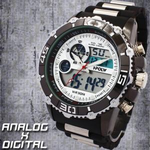 アナデジ デジアナ ダイバーズウォッチ風 メンズ腕時計 HPFS622-WHBK アナログ&デジタル 3気圧防水 ラバーベルト クロノグラフ カレンダー 送料無料|springstate