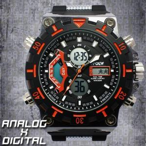 アナデジ デジアナ ダイバーズウォッチ風 メンズ腕時計 HPFS628-BKOR アナログ&デジタル 3気圧防水 ラバーベルト クロノグラフ カレンダー 送料無料|springstate