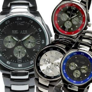 腕時計 メンズ腕時計 コンビベルト メタルベルト フェイククロノグラフ フェイクダイアル クォーツ 男性用 JH16|springstate
