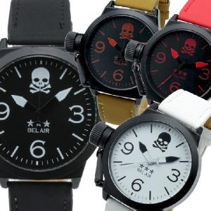 4480555011 腕時計 メンズ腕時計 左リューズプロテクター スエード風PUレザーベルト スカル クォーツ 男性用 JH29 ...