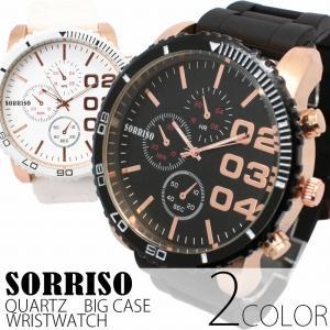 お一人様2点限りセール特価 腕時計 メンズ腕時計 超ビッグケース ラバーベルト フェイククロノグラフ フェイクダイアル クォーツ 男性用 SRF4|springstate