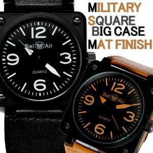 30b57f8050 腕時計 メンズ腕時計 ビッグサイズ 角型コーティングケース 航空計器デザイン PUレザーベルト クォーツ ...