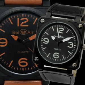 7909a8ba23 腕時計 メンズ腕時計 ミッドサイズ 角型コーティングケース 航空計器デザイン PUレザーベルト クォーツ ...