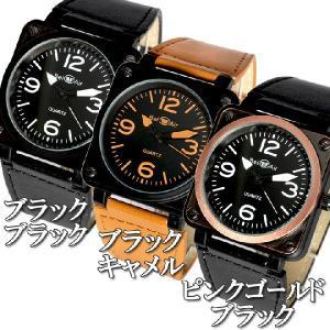 d96bc01f0e ... 腕時計 メンズ腕時計 ミッドサイズ 角型コーティングケース 航空計器デザイン PUレザーベルト クォーツ ...
