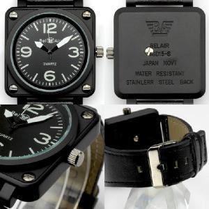 55cf23b103 ... 腕時計 メンズ腕時計 ミッドサイズ 角型コーティングケース 航空計器デザイン PUレザーベルト クォーツ