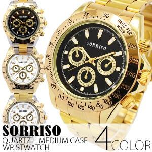 腕時計 メンズ腕時計 定番モデル ゴールド メタルベルト フェイククロノグラフ フェイクダイアル クォーツ 男性用 OSD27|springstate