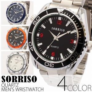腕時計 メンズ腕時計 SORRISO ダイバーズ風腕時計 メタルベルト シンプル機能 クォーツ 男性用 SRHI4|springstate