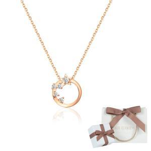 K18 ダイヤモンド ネックレス 星空 モチーフ レディース ピンクゴールド プレゼント アクセサリー|springvivi