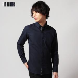 シャドーチェックボタンダウン形態安定長袖シャツ|spu