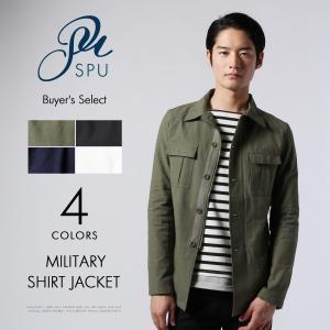 メンズ ジャケット 春 メンズファッション 綿麻 ストレッチ ミリタリー シャツ ジャケット Buyer's Select バイヤーズセレクト|spu