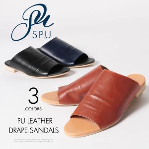 メンズ サンダル PUレザー ドレープ サンダル Buyer's Select バイヤーズセレクト|spu