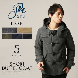 メンズ アウター メンズファッション ウール モッサ ショート ダッフル コート H.O.B ホブ|spu