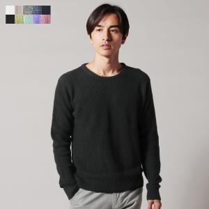 ニット メンズファッション 7ゲージ 編み 杢 コットン ラーベン クルーネック 長袖 ニット NEVER ネバー|spu