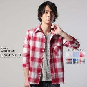 シャツ カットソー メンズ 春 夏  綿麻 シャツ 2枚1組 セット 7分袖 シャツ 半袖 カットソー アンサンブル|spu