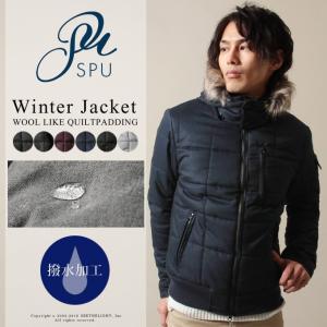 中綿入りジャケット ジャンパー・ブルゾン アウター メンズファッション 撥水加工 ウールライク ヘリンボーン キルティング 中綿入り ジャケット