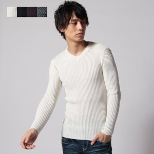 【セール対象】メンズ ニット メンズファッション コントラスト ダブルリブ リブ編み Vネック ニット SPU スプ spu