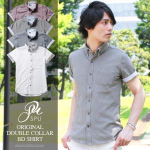 シャツ メンズ 2枚襟デザイン オリジナルオックス鹿の子 長袖 半袖 ボタンダウン カットシャツ SPU スプ|spu