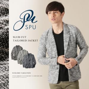 ジャケット メンズ テーラード スラブカット 2ボタン 長袖 秋服 ライトアウター|spu