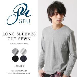 カットソー メンズ 長袖 綿100% トップス メンズ ファッション Vネック Tシャツ|spu