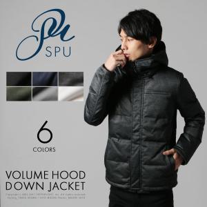 メンズ アウター メンズ ファッション ボリューム フード ストレッチ フェザー ダウン ジャケット SPU スプ|spu