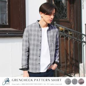シャツ メンズ 長袖 春 新作 オリジナルシャツ グレンチェックパターン 長袖 シャツ|spu