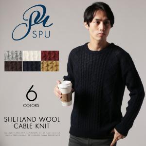 【セール対象】ニット メンズ 冬 毛 ウール シェットランドウール アランケーブル編み クルーネック Buyer's Select(バイヤーズセレクト) spu
