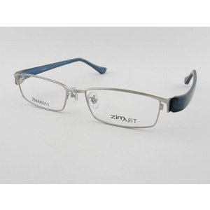 ジムアート zimART 6011-2 セット スクエア 青 眼鏡 ビジネス めがね スーツ 度付き可 スマート シンプル フルリム ブルー 度付 度無し 銀|squacy