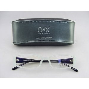 【30%OFF!!】O&X new york メガネ フレーム 73-5 個性的メガネ ユニーク ケース付 ハッカ飴カラー スノウホワイト 印象的