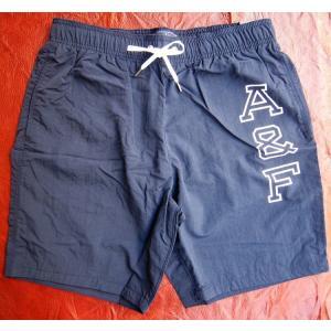 Abercrombie&Fitch アバクロ アバクロンビー&フィッチ スイムパンツ 水着 ショーツ 海パン メンズ サーフ ボトム ショートパンツ 紺 ロゴ ネイビー Sサイズ|squeezecoconuts
