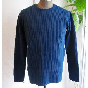 BARNS バーンズ サーマル ワッフル ビッグワッフル メンズ Begin ビギン掲載 アメカジ 長袖 ロングスリーブ Tシャツ インナー インディゴ|squeezecoconuts