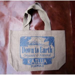 トートバッグ サブバッグ ジュート メンズ レディース Down to EARTH ダウントゥアース HAWAII KAILUA ハワイ カイルア サブバッグ 服飾雑貨 小物|squeezecoconuts