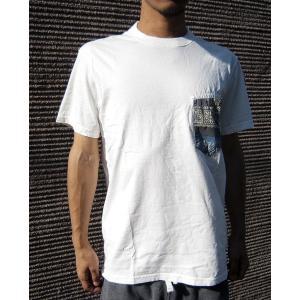 KRIFFMAYER クリフメイヤー Tシャツ ポケT 半袖 ショートスリーブ メンズ ペイズリー バンダナ柄 白T ブルー カジュアル クルーネック|squeezecoconuts