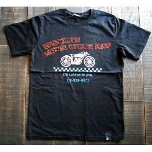 JOHNBULL ジョンブル Tシャツ メンズ グラフィックプリント ブルックリン モーターサイクル バイカー 薄手 コットン クルー 丸首|squeezecoconuts