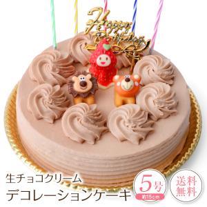 誕生日ケーキ バースデーケーキ 生チョコクリーム デコレーションケーキ 5号 子供(凍)チョコレートケーキ 誕生日プレゼント ケーキ|srr-shop
